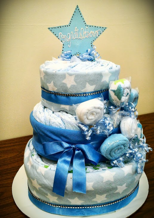 Baby Boy Blue Diaper Cake